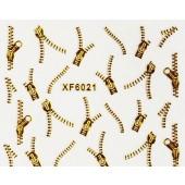 1 Bogen Nailart Sticker Wasseraufkleber XF 6021 Gold